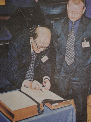 Graham signing Presidents Bibl